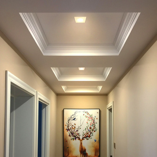 Ceiling Lights Recessed Square Ceiling LED Spotlights for Sloped Ceilings 9W 800Lm Warm Light 3000K 3 Inch Ceiling Hole Diameter 90-100MM 6 lamps from Enuotek