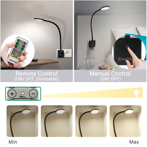 Plug In Remote Control Dimmable LED Wall Night Light Swing Arm LED Bedside Lamp Work Light 4W 350Lm Natural White Lighting 5000K European Power Plug 1 Lamp and 1 Remote by Enuotek