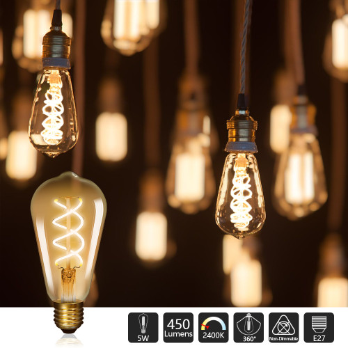 Vintage 5W ST64 Edison E27 LED Curved Filament Decorative LED Light Bulbs Warm White 2500K 450Lm Replace 50W Incandescent Light Bulb Not Dimmable 3 Pack by Enuotek