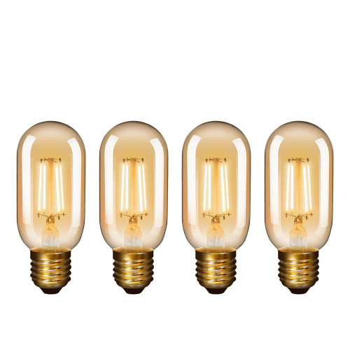 Old Fashioned T45 Edison E27 4.5W LED Filament Light Bulbs Vintage LED Lamps with Retro Glass Lamp Shade 450Lm Warm White 2400K Replace 40W Incandescent Light Bulb 4 Pack by Enuotek