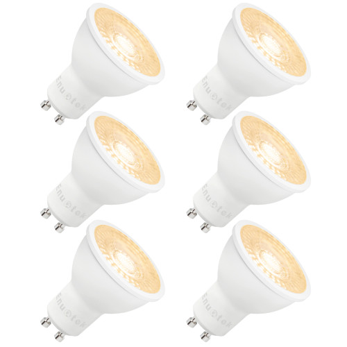 3 Steps Dimmable GU10 LED Spot Light Bulbs 7W 38° Spot Lighting Angle Warm White 3000K 100%-40%-15% Maximum 650Lm Brightness Warm White 3000K Replace 60W Halogen Lamp 6 Pack by Enuotek