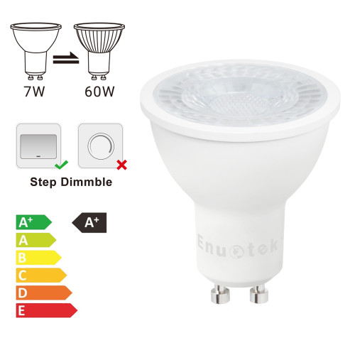 3 Steps Dimmable GU10 LED Spot Light Bulbs 7W 38° Spot Lighting Angle Warm White 3000K 100%-40%-15% Maximum 650Lm Brightness Warm White 3000K Replace 60W Halogen Lamp 6 Pack