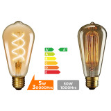 Vintage 5W ST64 Edison E27 LED Curved Filament Decorative LED Light Bulbs Warm White 2500K 450Lm Replace 50W Incandescent Light Bulb Not Dimmable 3 Pack