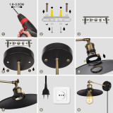 Vintage Wall Mounted Black Wall Sconce Light with E27 Lamp Holder Lampshade Power Plug and Cable Switch for Living Room Bedroom Indoor Balcony, Light Bulb Not Included, 1 Lamp