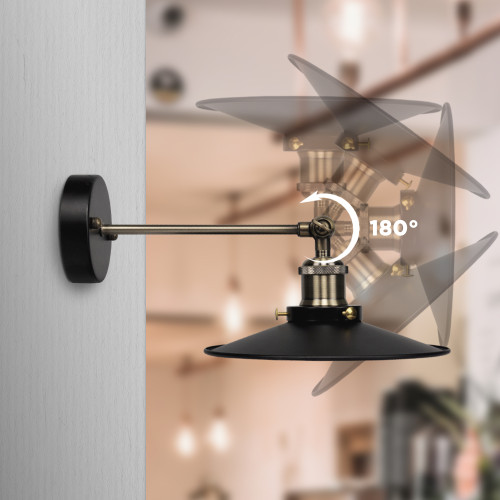 Vintage Industrial Metal Wall Sconce Lamp Retro Wall Light with Adjustable E27 Lamp Socket and Black Lamp Shade Diameter 22CM Without Power Cord and Light Bulb 1 Lamp