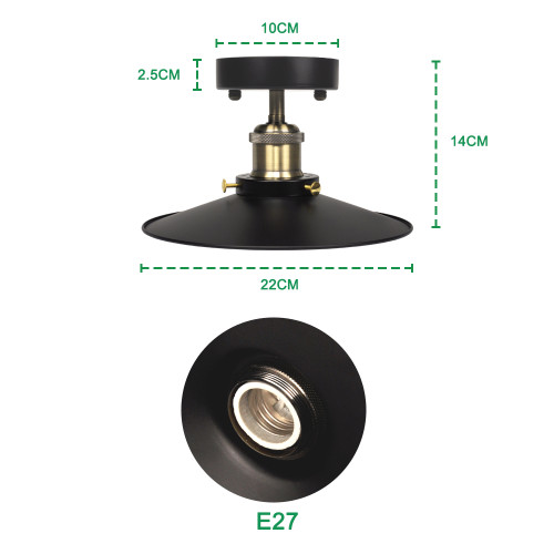 Vintage Industrial Metal Ceiling Pendant Light with Black Lamp Shade and E27 Edison Lamp Socket Retro Steel Lampshade Diameter 22CM, Light Bulb not Included,1 Pack by Enuotek