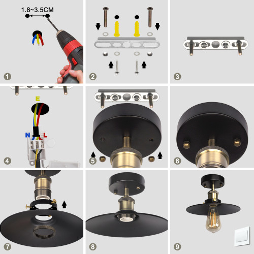 Vintage Industrial Metal Ceiling Pendant Light with Black Lamp Shade and E27 Edison Lamp Socket Retro Steel Lampshade Diameter 22CM, Light Bulb not Included,1 Pack