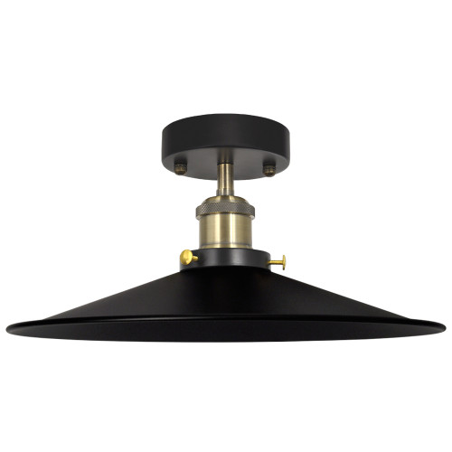 Black Vintage Retro Ceiling Pendant Light for Bedroom Balcony Corridor with 30CM Lampshade and E27 Edison Ceramic Lamp Holder, Light Bulb not Included,1 Pack by Enuotek