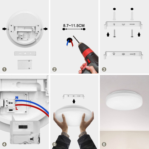 18W LED White Round Ceiling Panel Light Fixture CCT 3000K 4000K 5000K IP54 for Bathroom Kitchen Balcony Diameter 28CM High Brightness 1600Lm Not Dimmable 1 Pack by Enuotek