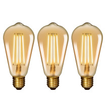Old Fashioned ST64 ST21 E26 6W LED Long Filament Light Bulb Lamp Vintage LED Light Bulbs with Retro Coated Glass Lamp Shade Replace 60W Incandescent Light Bulb 3 Pack