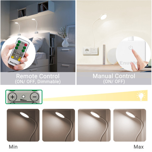 Remote Operted Swing Arm Dimmable LED Reading Lamps Work Lights with Power Socket Plug 4W Neutral White Lighting 4000K for European Power Socket 2 Lamps and 2 Remotes by Enuotek