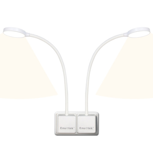 Touch Dimmable Flexible LED Dedside Wall Night Lamps Reading Lights with Power Plug in Bedroom 4W 350Lm Neutral White Lighting 4000K for European Power Socket 2 Lamps by Enuotek