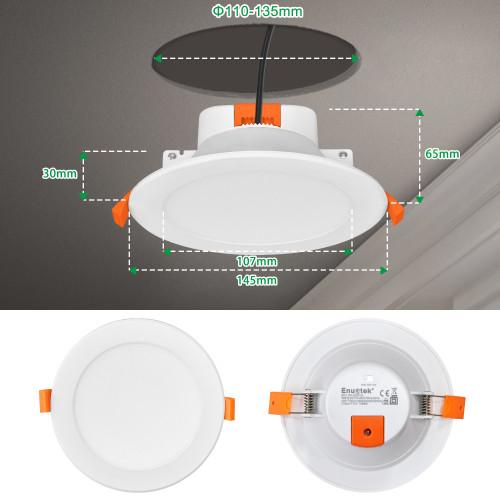 12W 1100Lm LED Large Diameter Ceiling Recessed Downlight Recessed Ceiling Lamp CCT 3000K 4000K 5000K Selectable Ceiling Hole Diameter 110-135MM 1 Pack by Enuotek