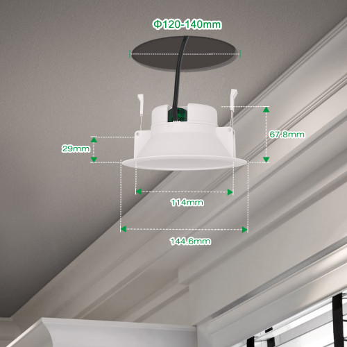 14W Bathroom LED White Ceiling Recessed Panel Downlights Recessed Lamps IP44 1200Lm 3000K Warm White Hole Diameter 120-140MM AC100~240V 6 Pack by Enuotek