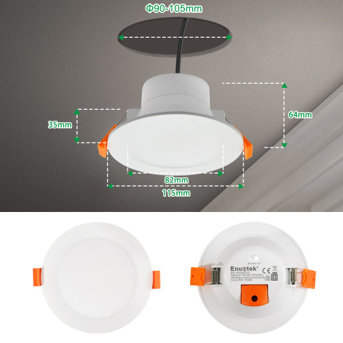 10W LED Recessed Ceiling Downlights Recessed LED Light Fixtures IP44 for Bathroom Kitchen Warm White 3000K Hole Diameter 90-105MM 6 Pack by Enuotek