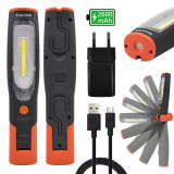 battery 4W COB LED work light Rechargeable LED flashlight hand lamp inspection lamp, high brightness 400Lm and strong magnets, 2600mAh lithium ion battery