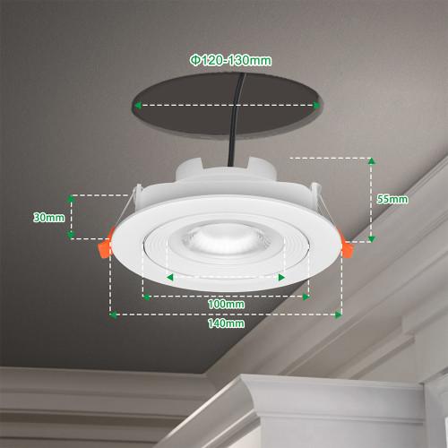 Dimmable 12W Large LED Recessed Ceiling Spot Downlights Ceiling Lamps for Slanted Ceiling Lighting Color 3000K 4000K 5000K 40º Beam Angel Cut Hole Diameter 120-130MM 6 Pack by Enuotek