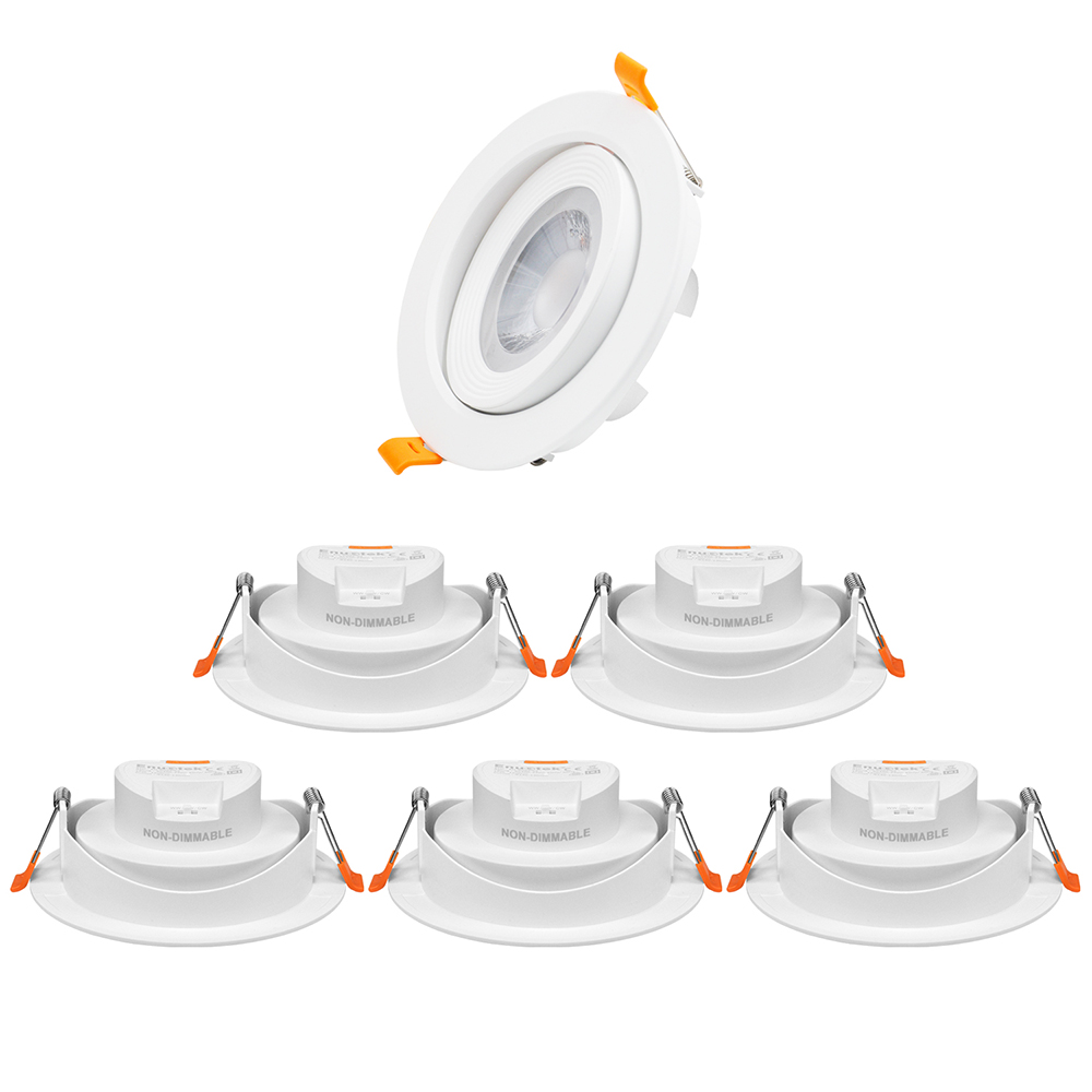 4 Inch Directional Large LED Sloped Ceiling Recessed Lamps Downlights for Angled Ceiling 3000K 4000K 5000K Selectable Cut Hole Diameter 120-130MM AC100~240V 6 Pack by Enuotek
