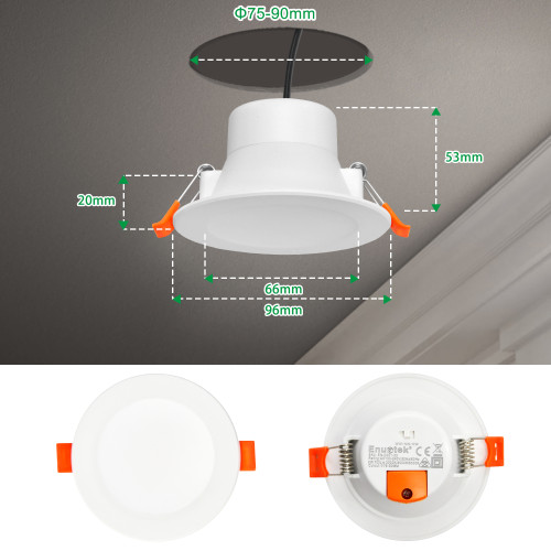 8W LED Small White Recessed Ceiling Downlight Ceiling Lamp LED 3000K 4000K 5000K Selectable before Installation Cut Hole 75-90MM AC100~240V IP44 for Kitchen Bathroom 1 Pack by Enuotek