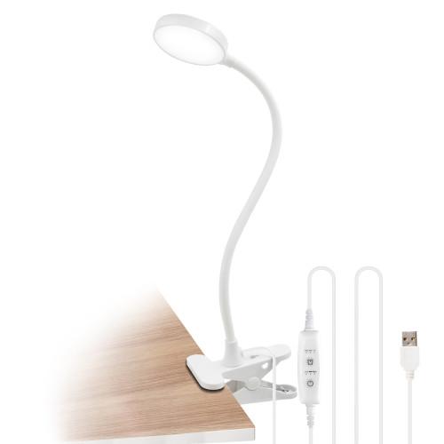White Dimmable Clip On 4W LED Table Light Desk Reading Lamp Computer Light with USB Port, Timer Function, Flexible Gooseneck, Eye Care Daylight Lighting