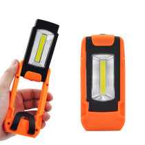 Battery Powered Portable 3W COB LED Work Light Magnetic LED Torch Light Inspection Lamp with Hanging Ring and Pocket Clip, Rotatable Handle with Powerful Magnet