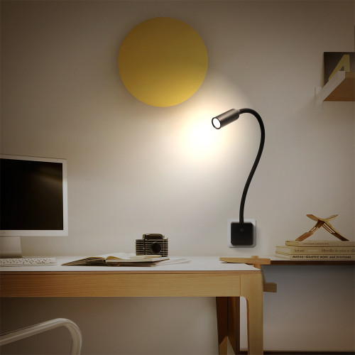 Plug In Dimmable LED Wall Spot Light Flexible LED Reading Spot Lamp with Power Socket Plug 3W 280Lm Natural White Lighting 4000K Non Remote Controlled Version 1 Lamp