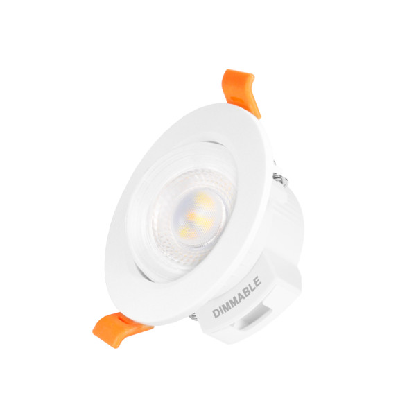 2.5 5W Inch Dimmable Angled Small LED Sloped Ceiling Recessed Spotlight Downlight Warm and Cool White Lighting Angle 38° Ceiling Hole Diameter 65-80MM 1 Lamp