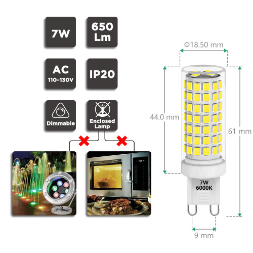 Dimmable G9 GU9 LED Capsule Corn Light Bulbs 7W 650Lm 60W Halogen Bulb Replacement ETL Listed Cool White 6000K Flicker Free 0~100% Brightness Dimmable Available AC110-130V 6 Pack by Enuotek