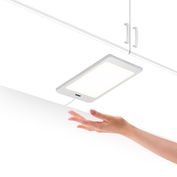 LED Kitchen Slim Under Cabinet Panel Lamp Cupboard Light with Touchless Hand Sensor Switch 5W 450Lm Neutral white 4000K DC12V Hardwired and Power Adapter 1 Lamp