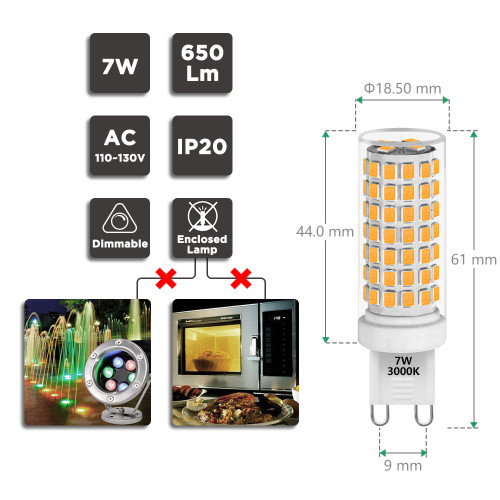 Dimmable 7W G9 LED Capsule Light Bulbs 650Lm 60W Halogen Lamp Equivalent Flicker Free ETL Listed Warm White 3000K AC110-130V 0~100% Brightness Dimmable Available 6 Pack by Enuotek