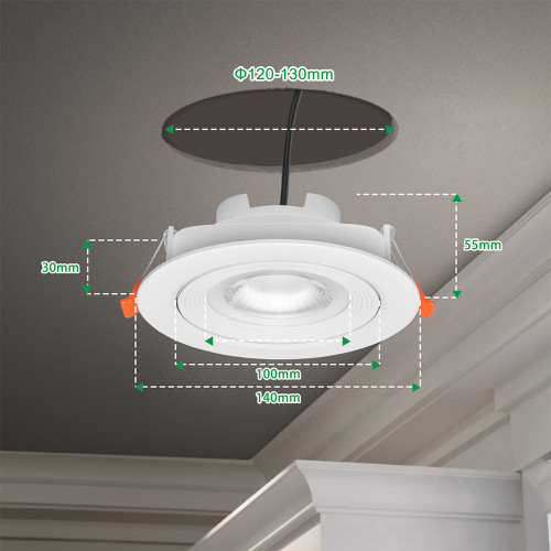 Dimmable Angled 12W Sloped Ceiling LED Recessed Down Lights Directional LED Spot Lamps CCT Adjustable 3000K 4000K 5000K 40º Beam Angel Cut Hole Diameter 120-130MM 3 Pack