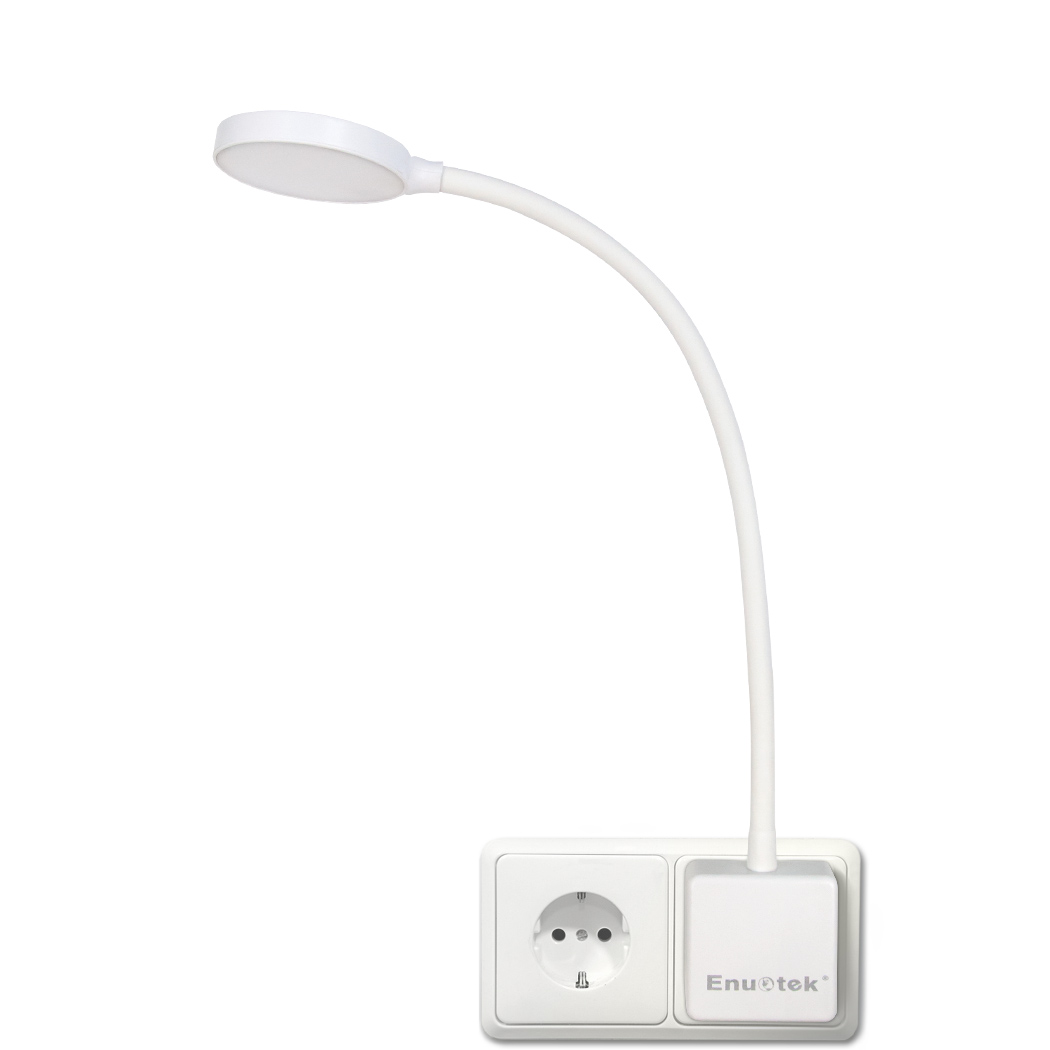 Dimmable Plug In LED Wall Light Swing Arm Bedside Night Lamp with Outlet Power Socket Plug 4W 350Lm Neutral White Lighting 4000K Non Remote Controlled Version 1 Lamp by Enuotek