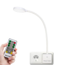 Remote Control Plug In Flexible LED Bedside Reading Night Lamp Dimmable Power Socket Light 4W 350Lm Neutral White Lighting 4000K European Power Plug 1 Lamp and 1 Remote by Enuotek