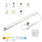 Dimmable Mains LED Under Cabinet Light Kitchen Counter Lamp 3000K- 6500K Lighting Colors Adjustable by Rotary Switch Maximum 480Lm Length 600MM Aluminum Body with Power Cord