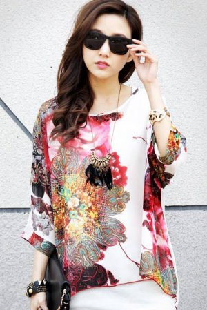 Large Size Batwing Sleeve Watercolor Painting Chiffon Blouse