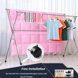 Free Installed Stainless Steel Clothes Drying Rack Foldable Space Saving Retractable Rack Hanger Heavy duty