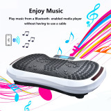 Built-in Music Player Fitness Vibration Platform Whole Full Body Shaped Crazy Fit Plate Massage Workout Trainer Exercise Machine Plate w/Integrated USB Port&LED Light&Resistance Bands&Remote