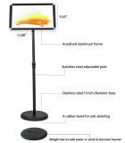 Adjustable Stainless Steel Pedestal Sign Holder Poster Stand Aluminum Easy Snap Open Frame for 8.27 x 11.7 Inches Graphics Both Vertical and Horizontal View Sign Displayed Menu Hold