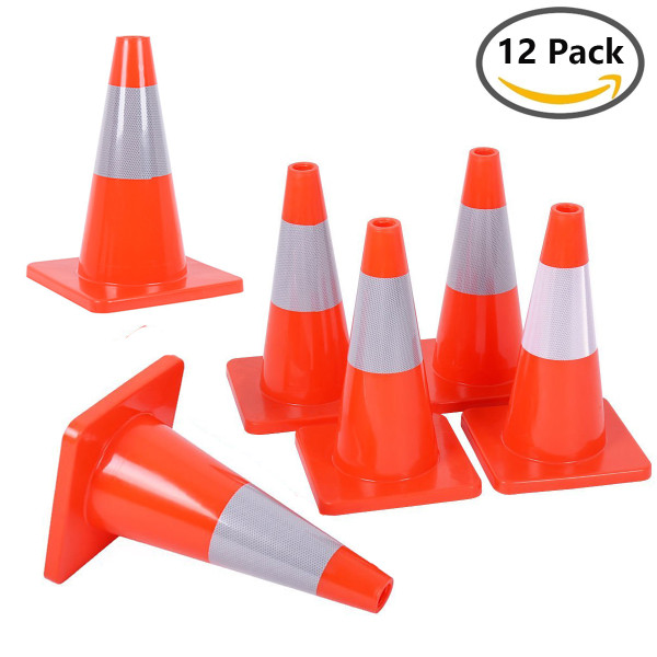 12PCS 18  Traffic Cones PVC Safety Road Parking Cones Weighted Hazard Cones Construction cones for traffic Fluorescent Orange w/4  Reflective Strips Collar