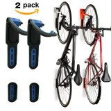 4 Color Foldable Vertical Bike Rack Wall Mounted Bicycle Cycle Storage Rack Single Bike Hook Wall Bike Hanger Holder w/Tire Tray for Garage Shed Retail Applications