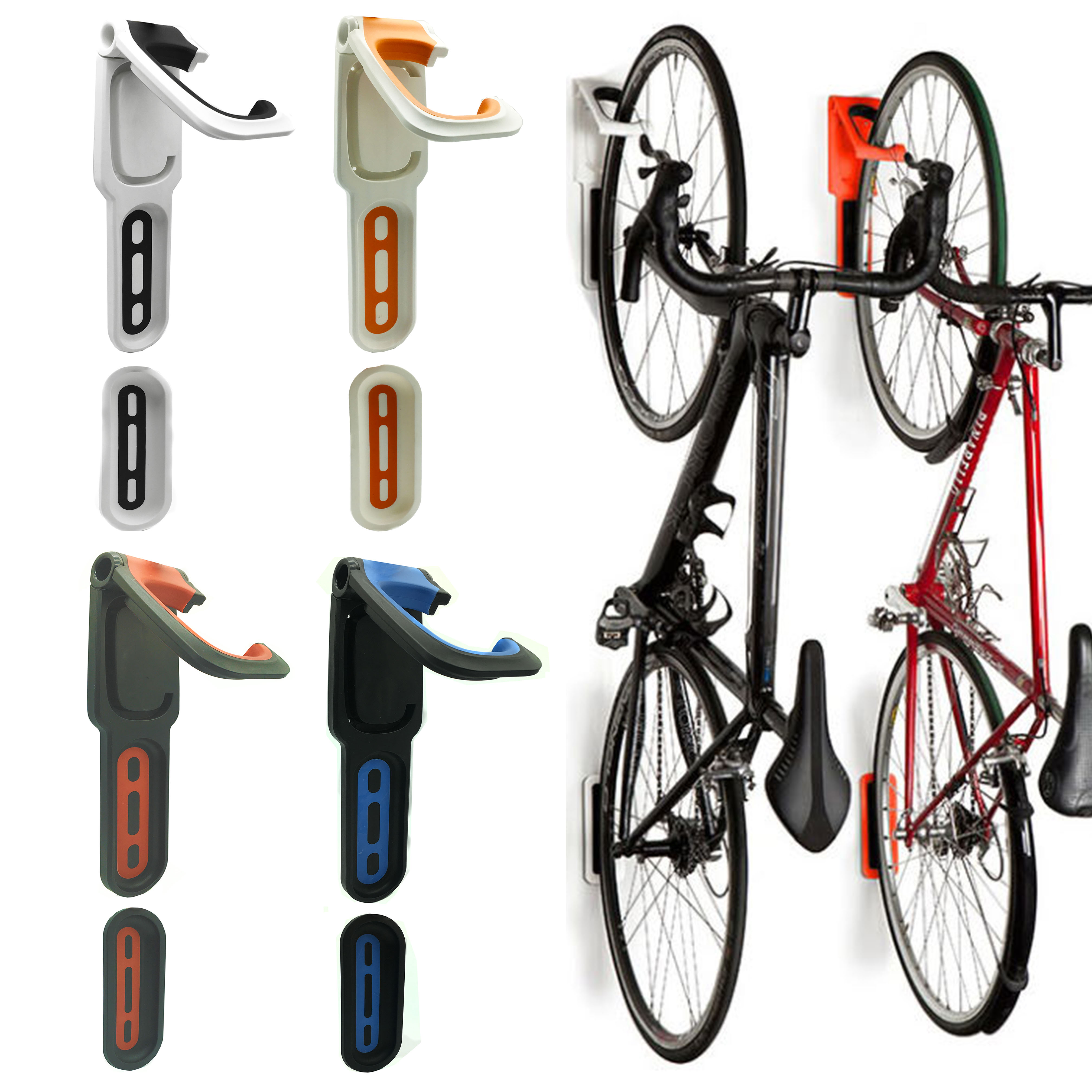 Reliancer 4 Color Foldable Vertical Bike Rack Wall Mounted Bicycle Cycle Storage Single Hook Hanger Holder W Tire Tray For Garage Shed