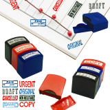 Set of 8 Self Inking Pre-Inked Office Stamp 8 Message Account Stamp Office Stationary Stamper Business Paper Work Text Stamps w/Tray Red\Blue\Black Ink