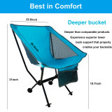 Portable Camping Chair Compact Ultralight Folding Beach Hiking Backpacking Chairs Ultra-Compact Moon Leisure Chair Heavy Duty 330lbs for Hiker Camp Fishing w/Cup Holder Carrying Bag