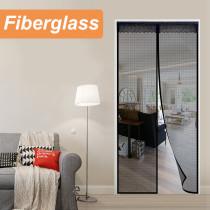 Fiberglass Magnetic Screen Door Large Magnet Patio Door Mesh Curtain for Door Opening Full Frame Velcro Keep Fly Bug Mosquito Out