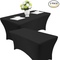 2 Pack 4FT/6FT/8FT Rectangular Spandex Table Cover Four-way Tight Fitted Stretch Tablecloth Table Cloth for Outdoor Party DJ Tradeshows Banquet Vendors Weddings Celebrations