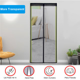 Fiberglass Magnetic Screen Door Large Magnet Patio Door Mesh Curtain for Door Opening Full Frame Velcro Keep Fly Bug Mosquito Out