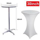 2 Pack 30/32/36inch Highboy Cocktail Round Spandex Table Cover Four-way Tight Fitted Stretch Tablecloth Table Cloth for Outdoor Party DJ Tradeshows Banquet Vendors Weddings