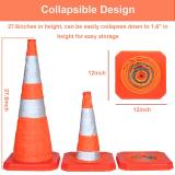 4PC 27.6  Collapsible Traffic Cones with Nighttime LED Lights Pop up Safety Road Parking Cones Weighted Hazard Cones Construction cones Fluorescent Orange w/2 Reflective Silver Strips Collar