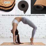 4PCS Eco-friendly Cork Yoga Mat Set Non-slip Organic Cork & Natural Rubber w/3inch Cork Block&Yoga Strap&Yoga bag For Hot Yoga Gymnastics Aerobicsw 72 LX24 W 4mm Non-Toxic Latex Free Gym Exercise Mat