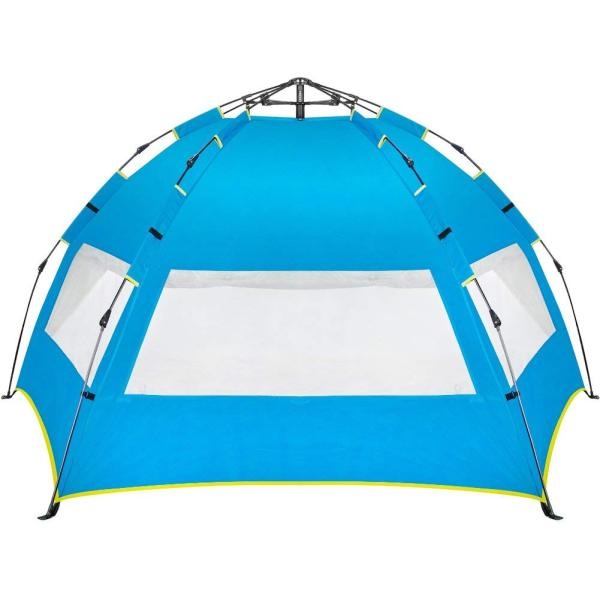 Easy Up Beach Tent,Family Beach Sun shelter,Deluxe Wide View of the 3 Windows